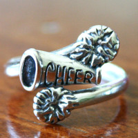 Cheerleader&#x27;s Ring, Cheer Jewelry Gift, Sterling Silver Megaphone Pom Pom Cheerleading Ring (Adjustable Size)