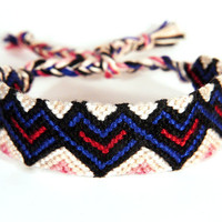 Heart Shaped Friendship Bracelet - Casual Woven Jewelry perfect gift for Valentines Day - Hand Braided Pink, Red and Blue Love Bracelet