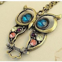 owl necklace-antique brass,colorful crystal