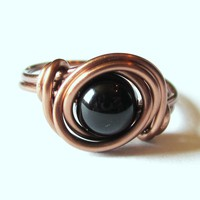 Black Agate Ring In Antique Copper on Luulla
