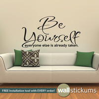 Wall Decal Quote : Be Yourself Living Room Bedroom Quote Vinyl Wall Art Decal Sticker