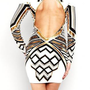 Metallic White Egyptian Print Long Sleeve Dress