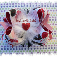 Valentine OTT Hair bows Red Black Pink Hearts - Stacked Hair bows - Layered Hair bows - Stacked hairbows - Layered Hairbows - Black Red Pink