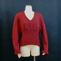 Sweater Red Soft V neck Empire Waist Size 10