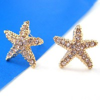 Small Starfish Star Shaped Stud Earrings in Gold with Rhinestones