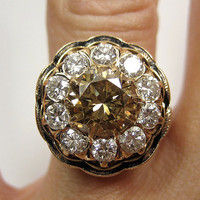 Supe Rare...2.80ct Antique Victorian Old European cut White and Cognac Diamond Engagement Ring