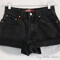 Black High Waisted Denim Levi's Shorts (Size 26) - CUSTOMIZABLE