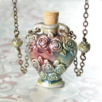 Bouquet of Roses Raku Bottle Pendant Necklace Antique Gold Brass Necklace Blue Green Rose Scent Bottle Necklace
