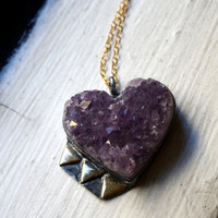Amethyst Geode Heart with Brass Triangles by RachelPfefferDesigns