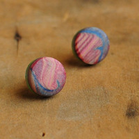 Abstract Landscape post earrings by jibbyandjuna on Etsy
