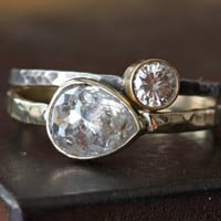 Silver-Clear Diamond RIng in 14kt  Yellow Gold- engagement, rose cut