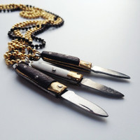 Pocket Knife Necklace , Vintage knife ball chain necklace