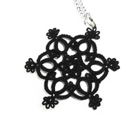 Gothic black lace pendant