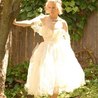 Vintage Reconstructed Whimsical Wedding Dress A by TavinShop