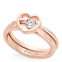 Coach :: New Pave Stone Heart Ring Set