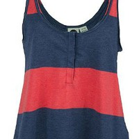Roxy Juniors Mainland Tank Top, Clove/Blue Stripe, X-Small