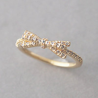 CUBIC ZIRCONIA SPACKLING RIBBON BOW RING GOLD BOW RING from Kellinsilver.com