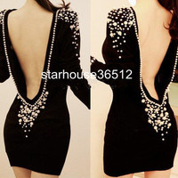Women Sexy Short Back off Backless Plastic Pearl Beaded V back Dress Embellished