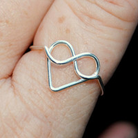 Adjustable Wire Wrapped Ring Infinite Heart Valentine Love
