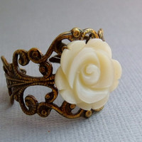 Ivory Shell Rose Ring by pinkingedgedesigns on Etsy