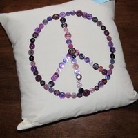 Peace Buttons Throw Pillow Cover