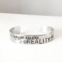 hand stamped jewelry - inspirational bracelet - metal cuff bird belief creates reality