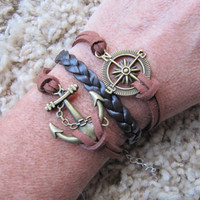 Made in the USA - Gold Compass Nautical Anchor Karma Friendship Brown Charm Bracelet