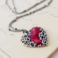 Valentine Necklace Ornate Swirled Heart Charm Red by PoleStar