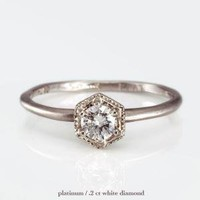 Hexagon Ring with White Diamond
