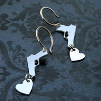 Hearts of Steel  Mini Pistol Earrings by bLuGrnDesign on Etsy