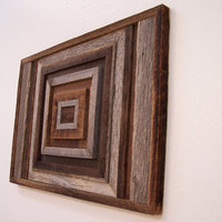 Modern Wood Wall Art, Geometric Wood Art Sculpture Made From Reclaimed Barn Wood, Rustic Western Decor