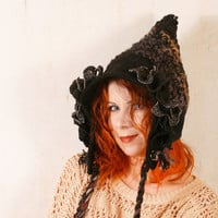 Black pixie hat woman black hat Crochet hat woman Hobbit hat Black knit hat Woodland hat Gnome hat black Witches hat