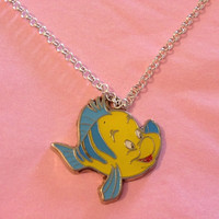 Disney Little Mermaid Flounder Necklace by RabbitJewellery on Etsy