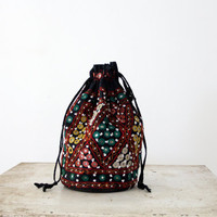 Vintage Bohemian Bag / Black Beaded Tote