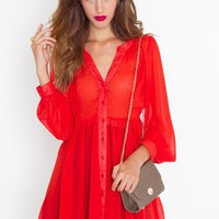 Chiffon Babydoll Dress - Crimson in  Clothes Dresses at Nasty Gal