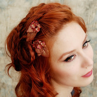 Flower hair clips, bronze flower bobby pins, floral clip set, hair accessories - Morgaine