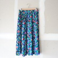 floral skirt / navy blue skirt / long pleated skirt /