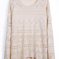 Beige Geometric Knit Jumper Sweater S002