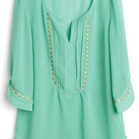 Green V-neck Half Sleeve Studded Chiffon Blouse S004
