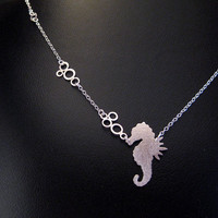 Silver Seahorse Necklace with Tiny Bubbles  by OffbeatMelody