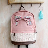 Fashion Pink Backpack with Red Floral Bow &Lace