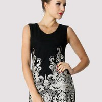 Black Sleeveless Embroidered Dress  S009762
