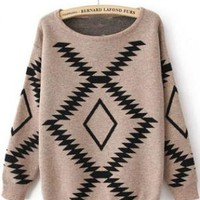 Khaki Long Sleeve Geometric Print Pullovers Sweater S014