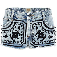Light wash embroidered stud denim shorts