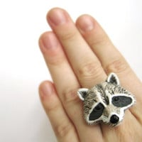 Woodland Friends Raccoon Ring Ceramic Jewelry by SpotLightJewelry