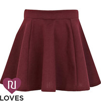 Girls dark red skater skirt