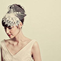 Venetian lace cap headband with chenille dot by mignonnehandmade