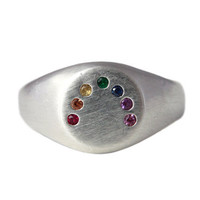 Rainbow Ring. Solid silver. Signet style. Set with a precious gem rainbow.