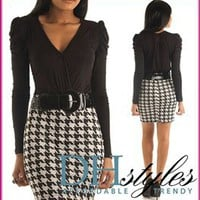Kal-1879-Black-White Chic Long Sleeve Houndstooth Dress w Belt