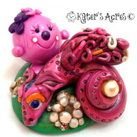 Lolly Finds the Pearl Dragon - Polymer Clay Mythical Beast StoryBook Scene Sculpted Figurine